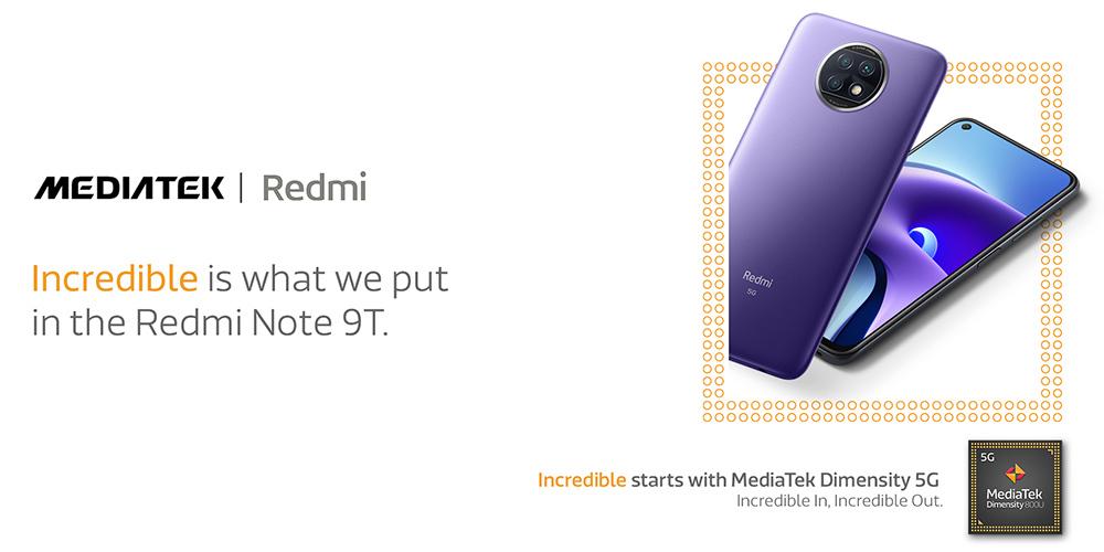 Redmi Note 9T powered by MediaTek Dimensity 800U