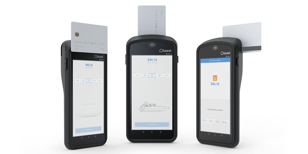 Toast Go Mobile handheld Point of Sale device, powered by MediaTek